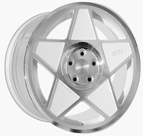 "NEW 18"" 3SDM 0.05 ALLOY WHEELS IN WHITE POLISHED WITH DEEPER CONCAVE 9.5"" REAR et42/40"