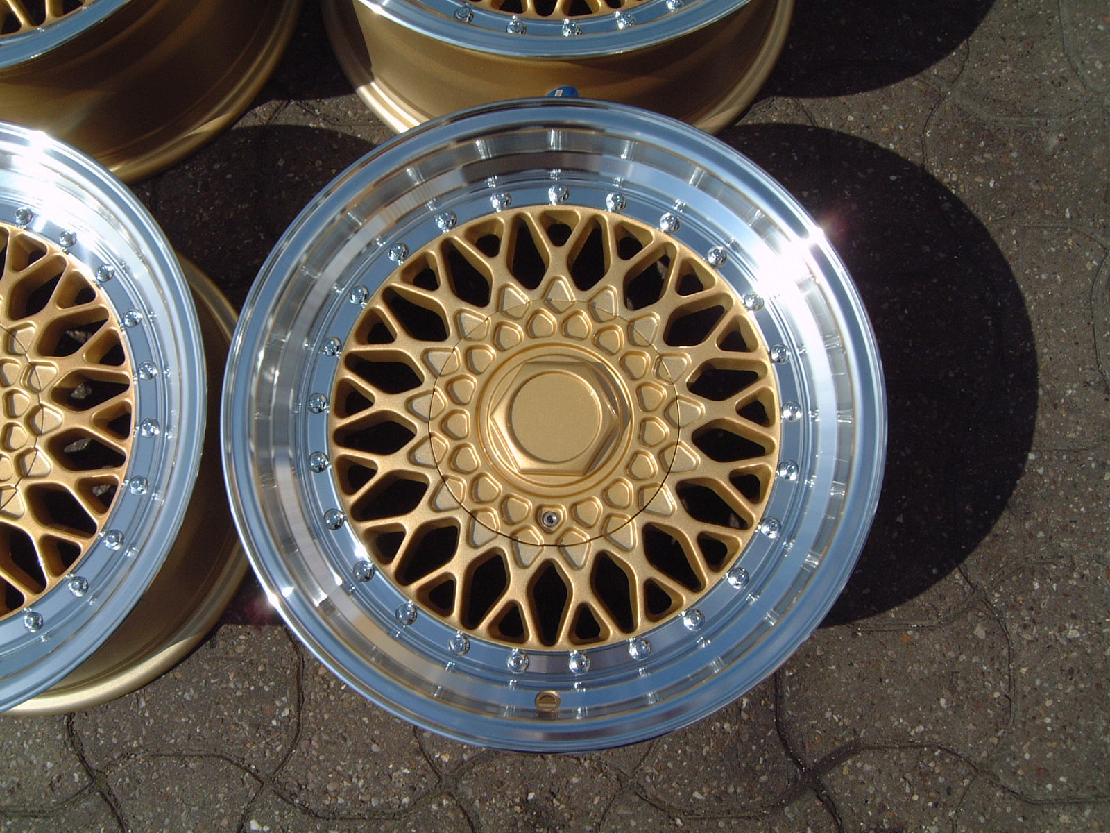 "NEW 16"" DARE RS ALLOY WHEELS GOLD POLISHED FINISH WITH CHROME RIVETS, 9"" DEEPER REAR"