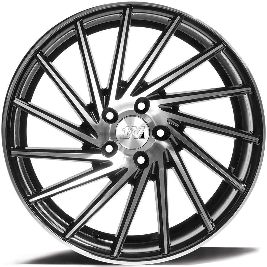 "NEW 19"" 1AV ZX1 DIRECTIONAL ALLOY WHEELS IN BLACK WITH POLISHED FACE, WIDER 9.5"" REARS ET40/40"