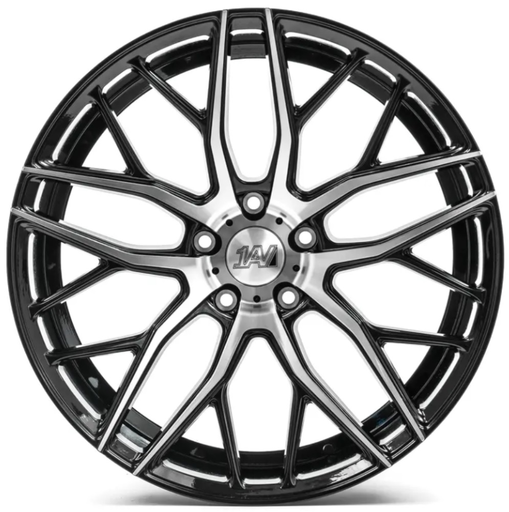 "NEW 20"" 1AV ZX11 ALLOY WHEELS IN GLOSS BLACK WITH POLISHED FACE WIDER 10"" REARS"