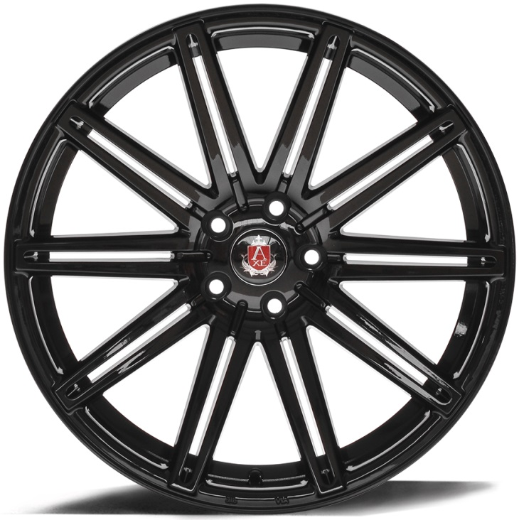 "NEW 20"" AXE EX15 CONCAVED ALLOY WHEELS IN GLOSS BLACK WITH WIDER 10.5"" REAR"