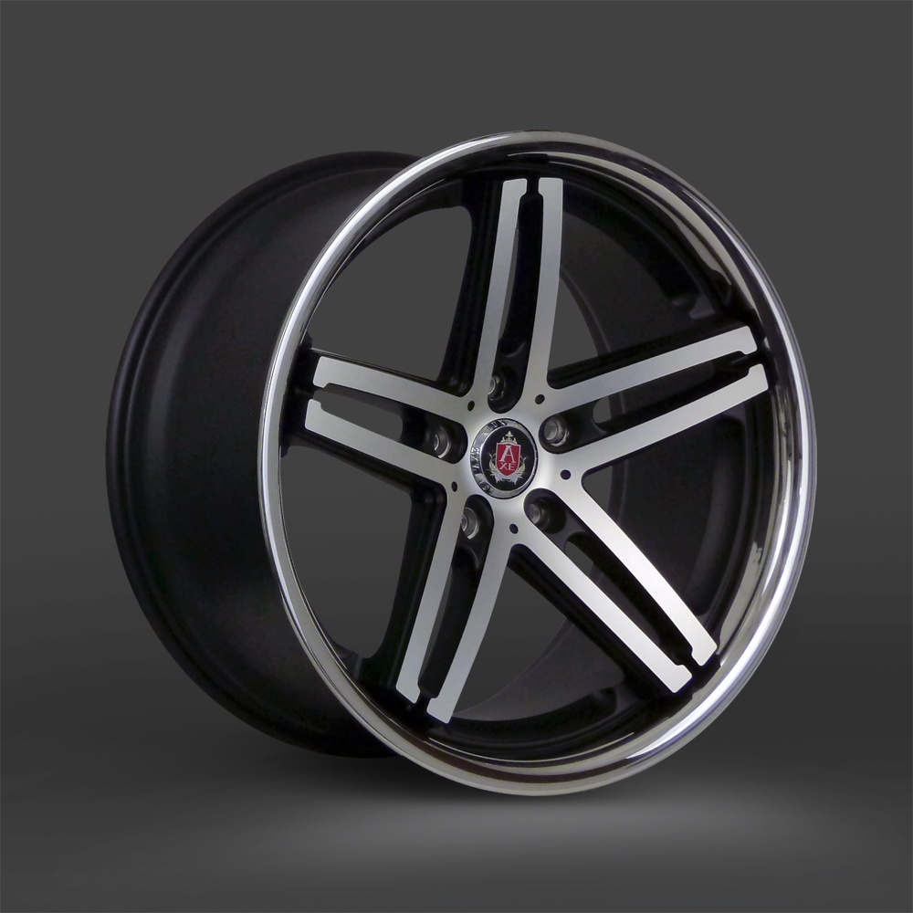 "NEW 19"" AXE EX11 ALLOY WHEELS IN SATIN BLACK WITH POLISHED FACE AND STAINLESS STEEL LIP, WIDE 9.5"" CONCAVED REARS et40/40"