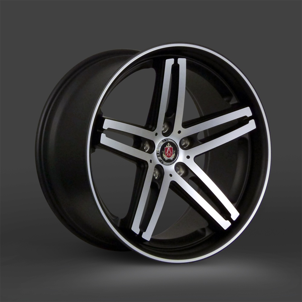 "NEW 19"" AXE EX11 ALLOYS IN SATIN BLACK WITH POLISHED FACE AND PINSTRIPE LIP, WIDE 9.5"" CONCAVED REARS 40/40"