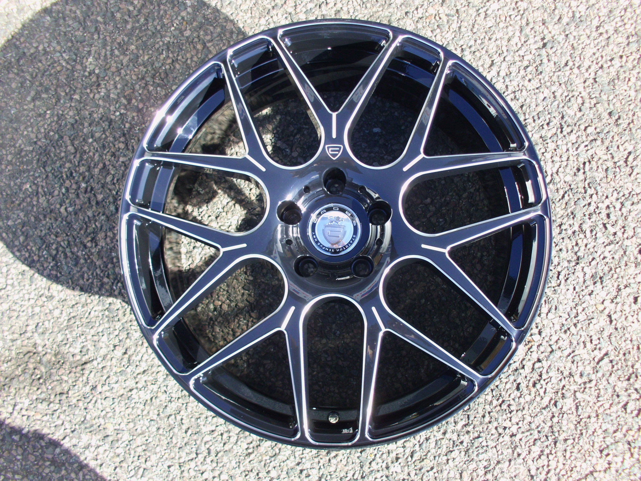 "NEW 20"" CADES BERN ALLOY WHEELS IN GLOSS BLACK WITH MILLED POLISHED ACCENT EDGES DIRECT 65.1CB"