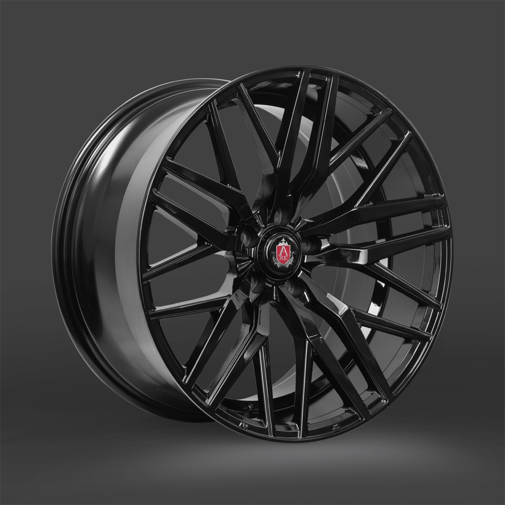 "NEW 20"" AXE EX30 ALLOYS IN GLOSS BLACK, DEEP CONCAVE, WIDER 10"" REAR"