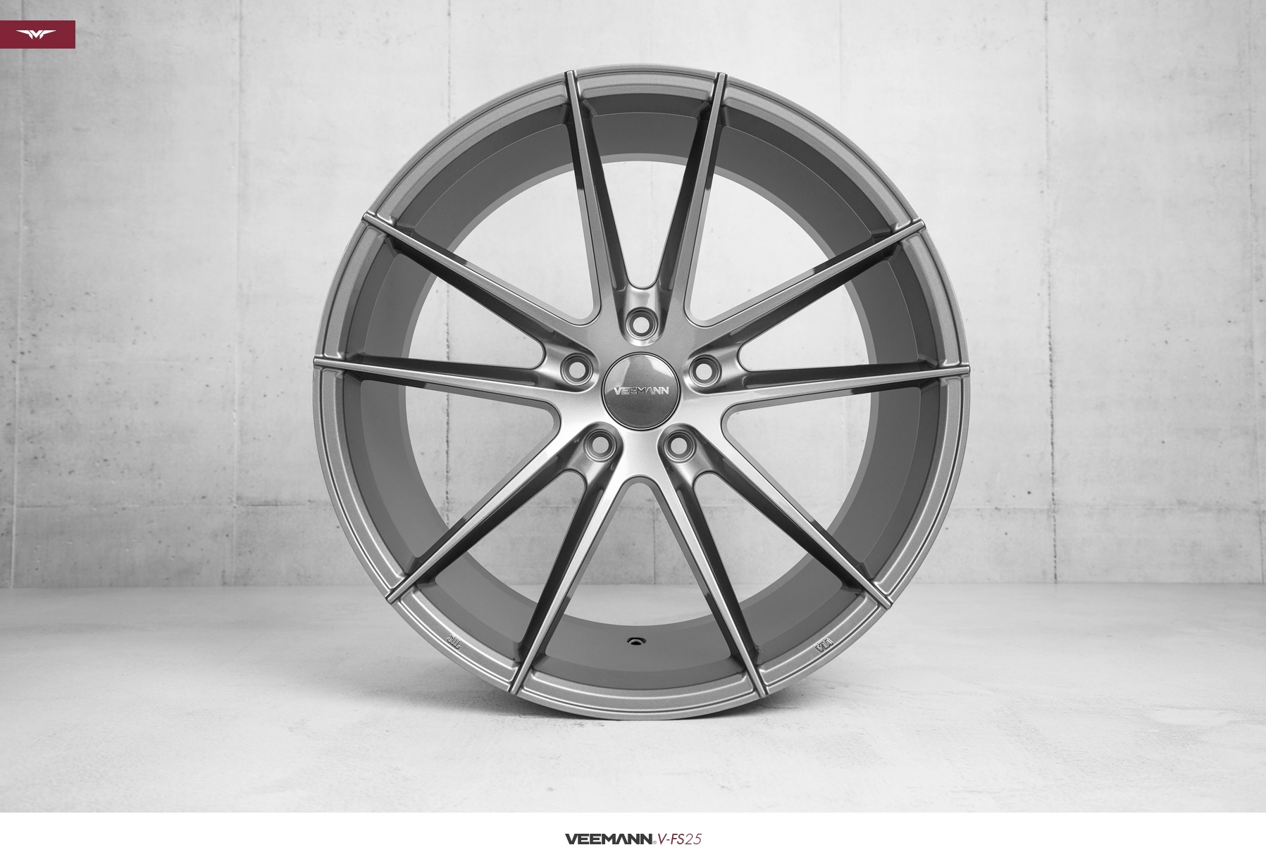 "NEW 19"" VEEMANN V-FS25 ALLOY WHEELS IN GLOSS GRAPHITE WITH WIDER 9.5"" REARS"