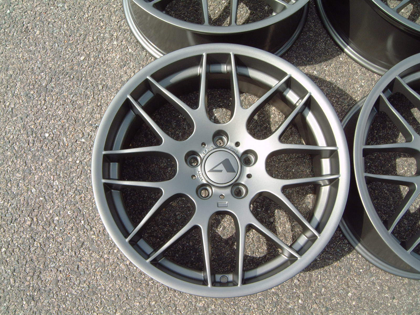 "NEW 19"" ATOMIC CSL ALLOYS IN SATIN GUNMETAL, WITH DEEPER CONCAVE 9.5"" ET45 REAR**RARE FITMENT**"