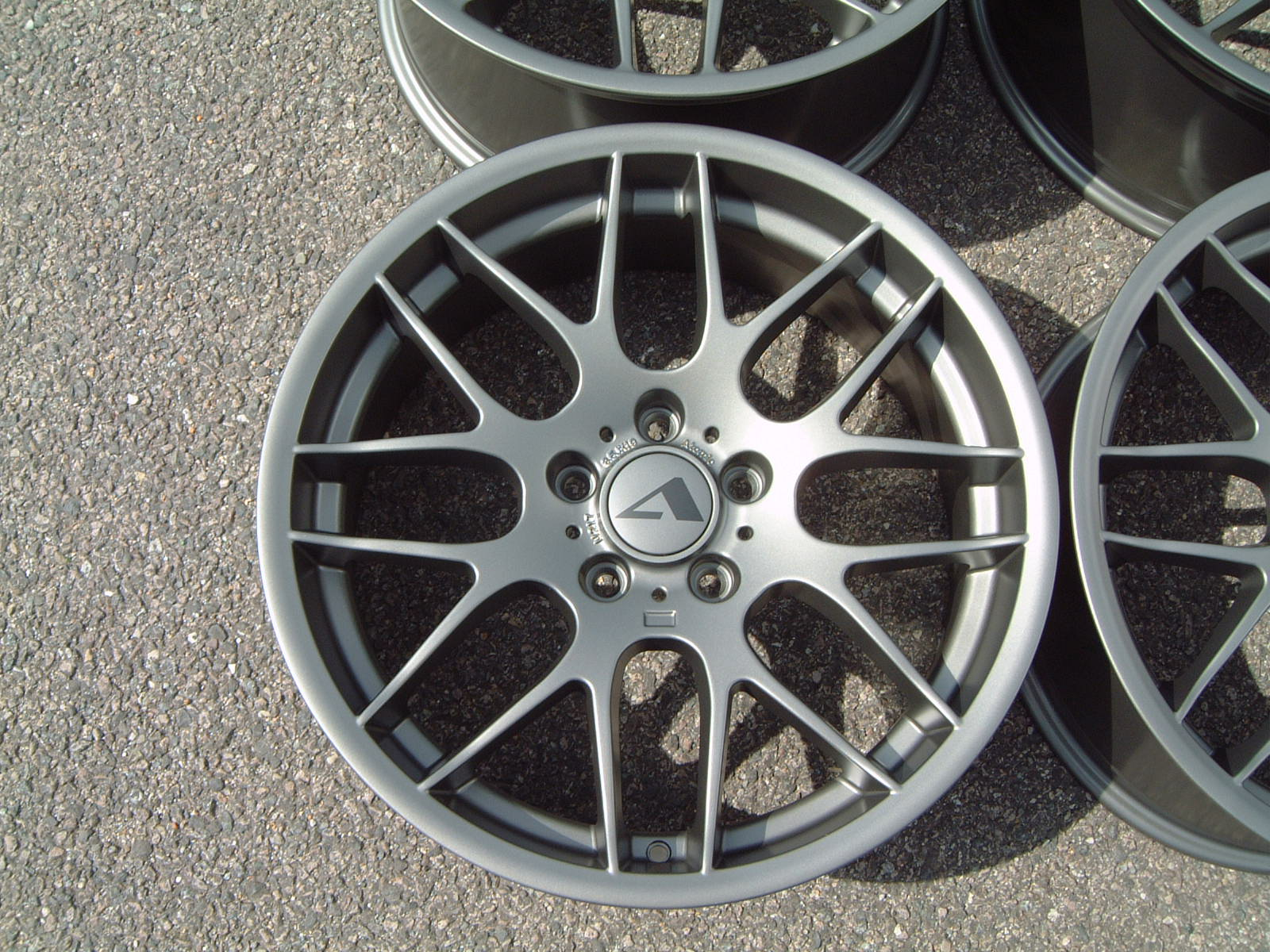 "NEW 19"" ATOMIC CSL ALLOY WHEELS IN SATIN GUNMETAL, WITH VERY DEEP CONCAVE 9.5"" REAR"