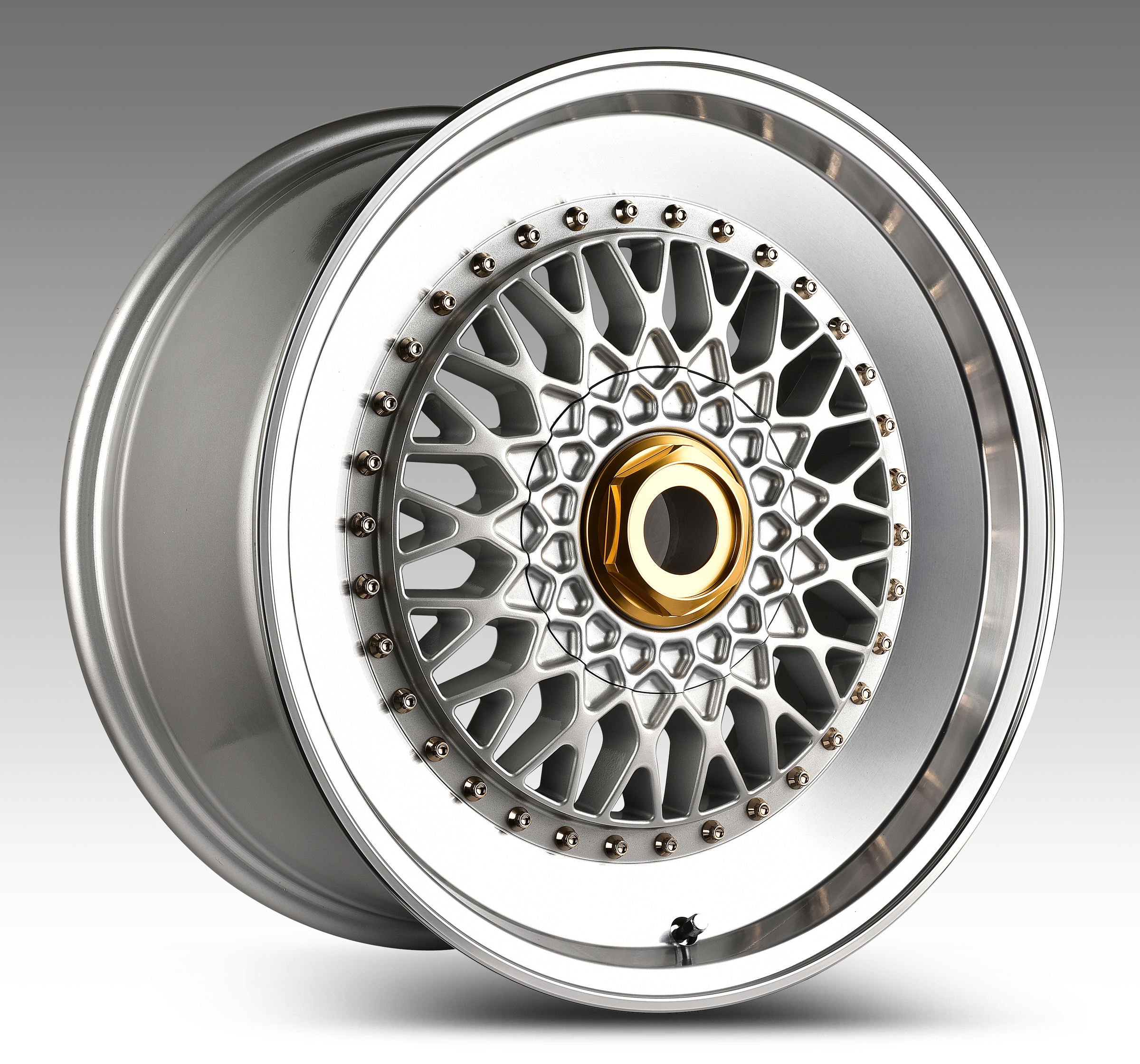 "NEW 18"" RS STEP UP STYLE ALLOYS IN SILVER WITH SILVER RIVETS, DEEP DISH 9"" REAR!!"