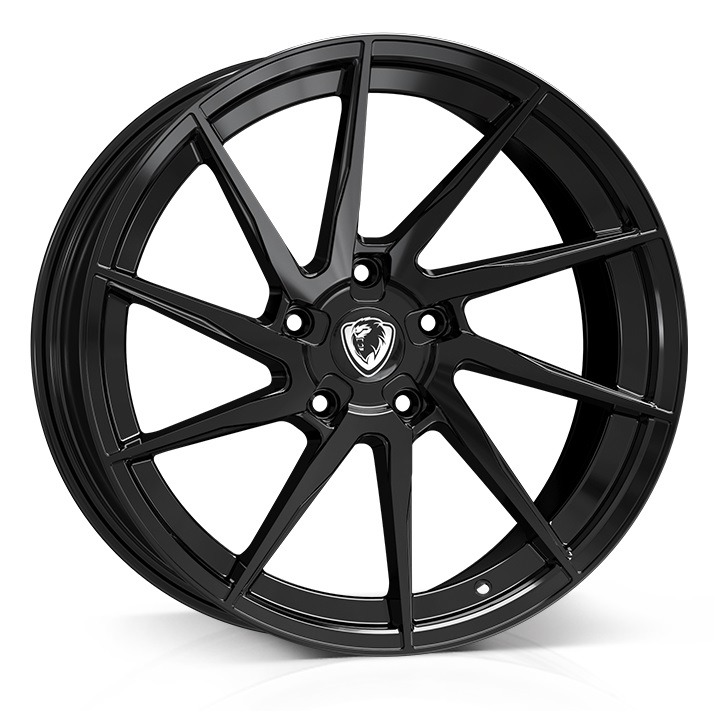 "NEW 18"" CADES KRATOS GLOSS BLACK ALLOY WHEELS, WIDER 9"" REAR"