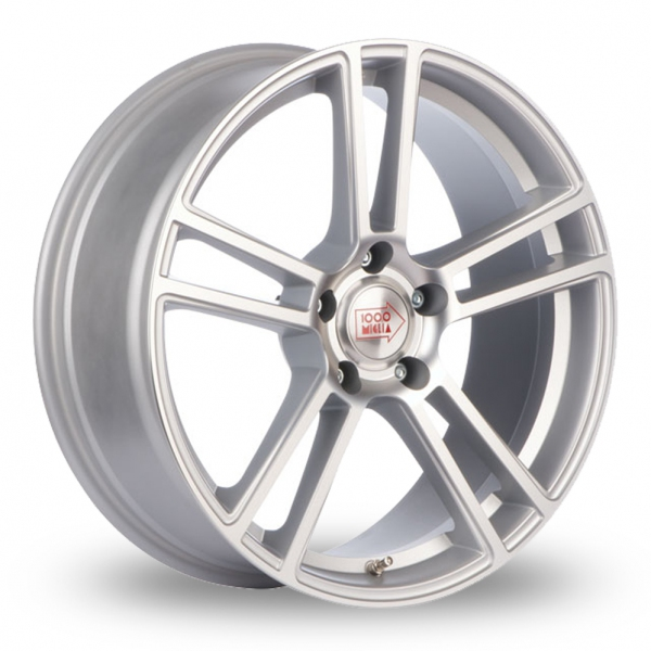"NEW 19"" MILLE MIGLIA MM1002 ALLOYS WITH DEEPER 9.5"" REARS IN MATT SILVER/POL"