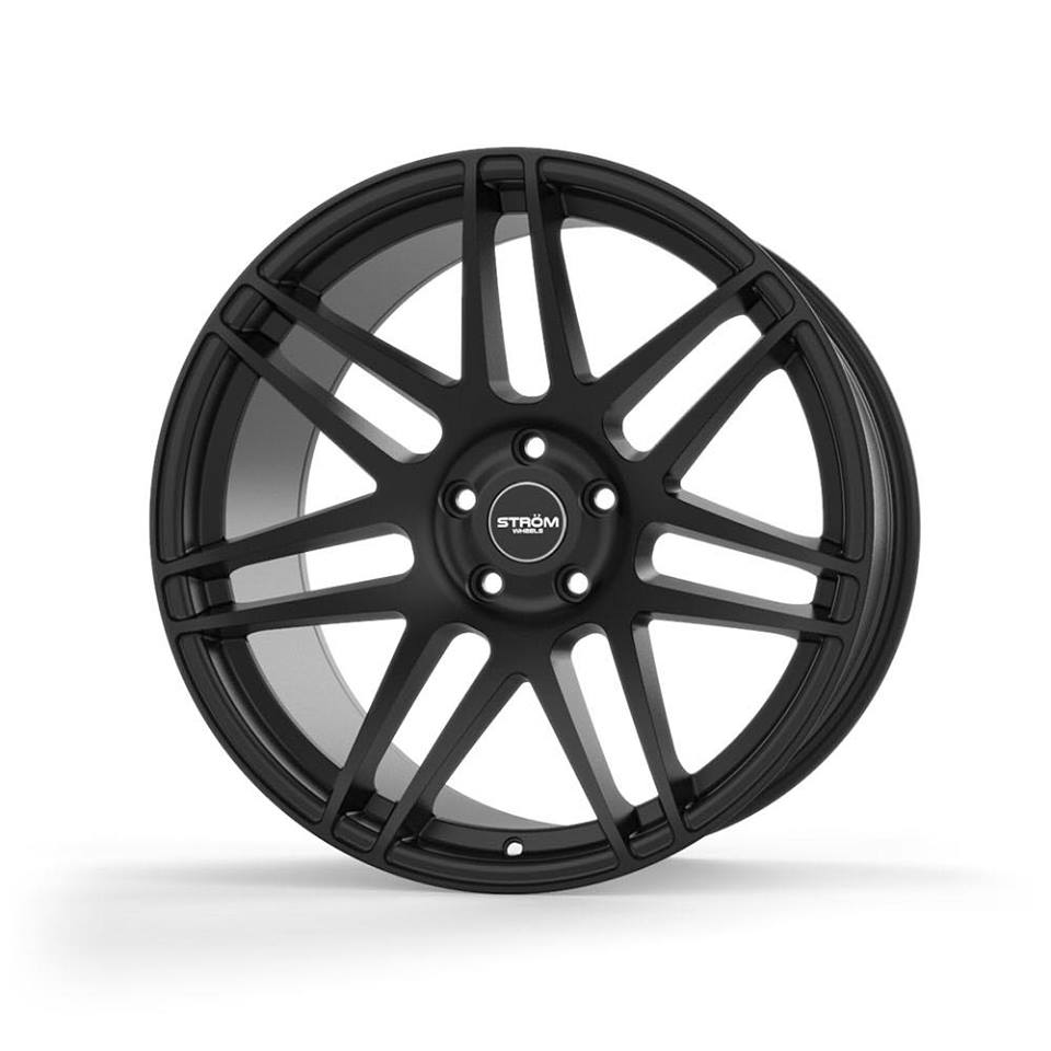 "NEW 22"" STROM STR3 ALLOY WHEELS IN SATIN BLACK WITH ULTRA DEEP CONCAVE 12"" REARS"