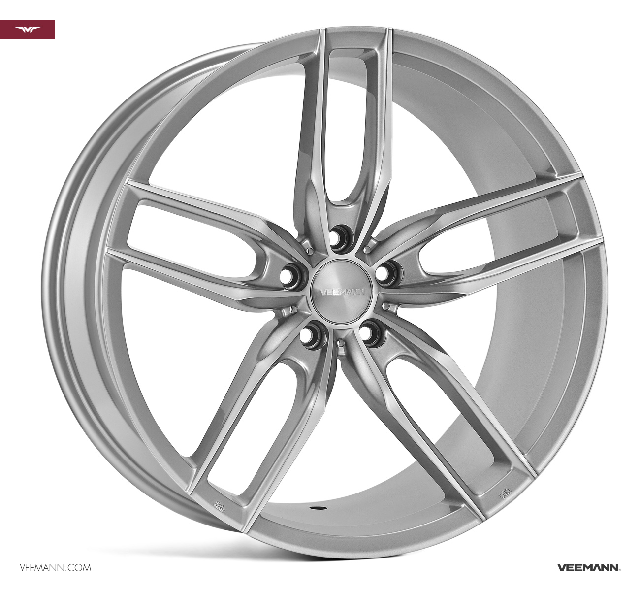 "NEW 22"" VEEMANN V-FS28 ALLOY WHEELS IN SILVER WITH POLISHED FACE WITH DEEPER CONCAVE 10.5"" REARS"