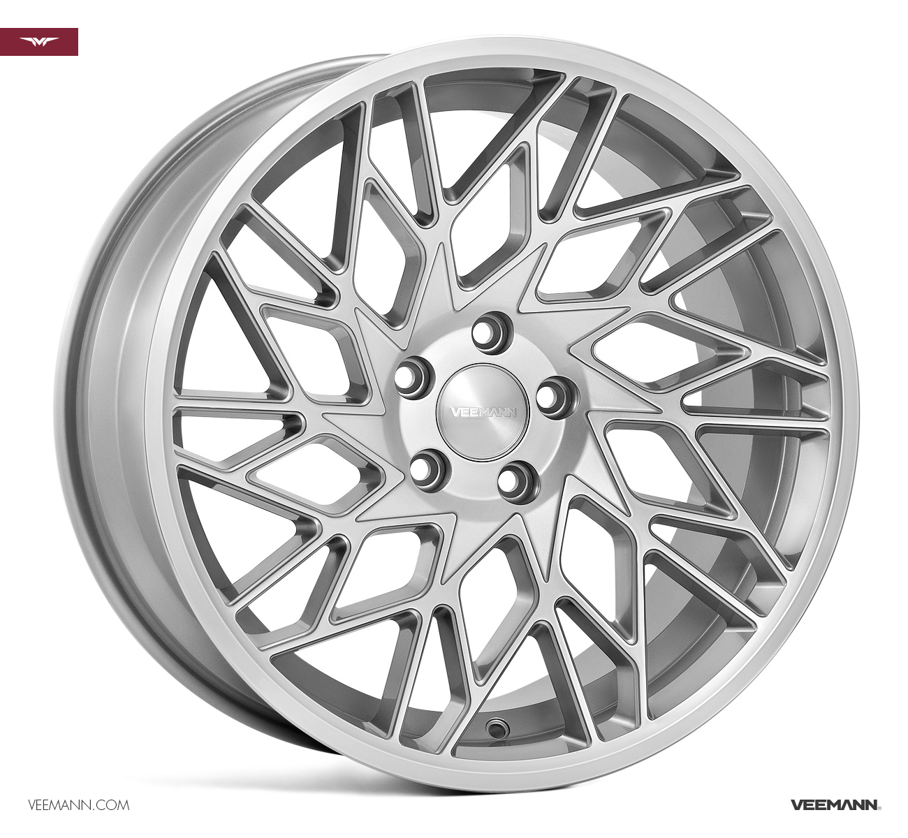 "NEW 19"" VEEMANN V-FS29R ALLOYS IN SILVER POL WITH WIDER 9.5"" REARS"