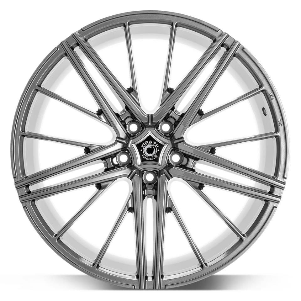 "NEW 20"" WRATH WF5 ALLOY WHEELS IN GLOSS GUNMETAL, WIDER 10"" REARS"