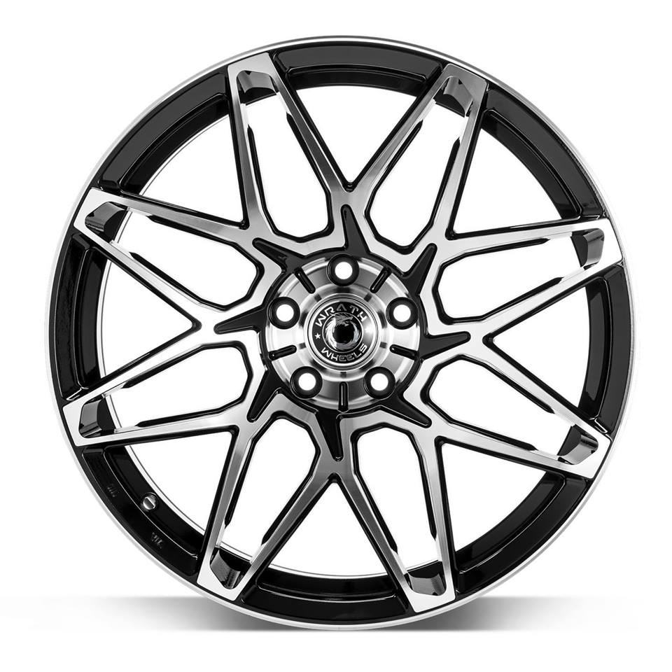 "NEW 19"" WRATH WF6 ALLOY WHEELS IN GLOSS BLACK WITH POLISHED FACE, WIDER 9.5"" REARS"