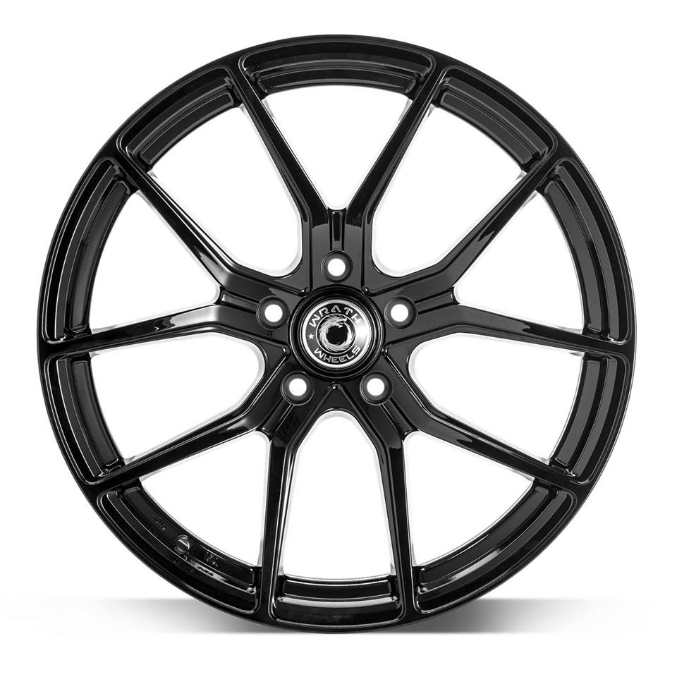 "NEW 18"" WRATH WF7 ALLOY WHEELS IN GLOSS BLACK, WIDER 9"" REARS"