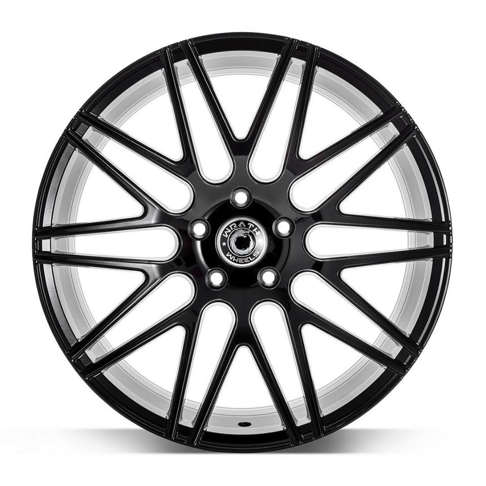 "NEW 19"" WRATH WF3 ALLOY WHEELS IN GLOSS BLACK, WIDER 9.5"" REARS"