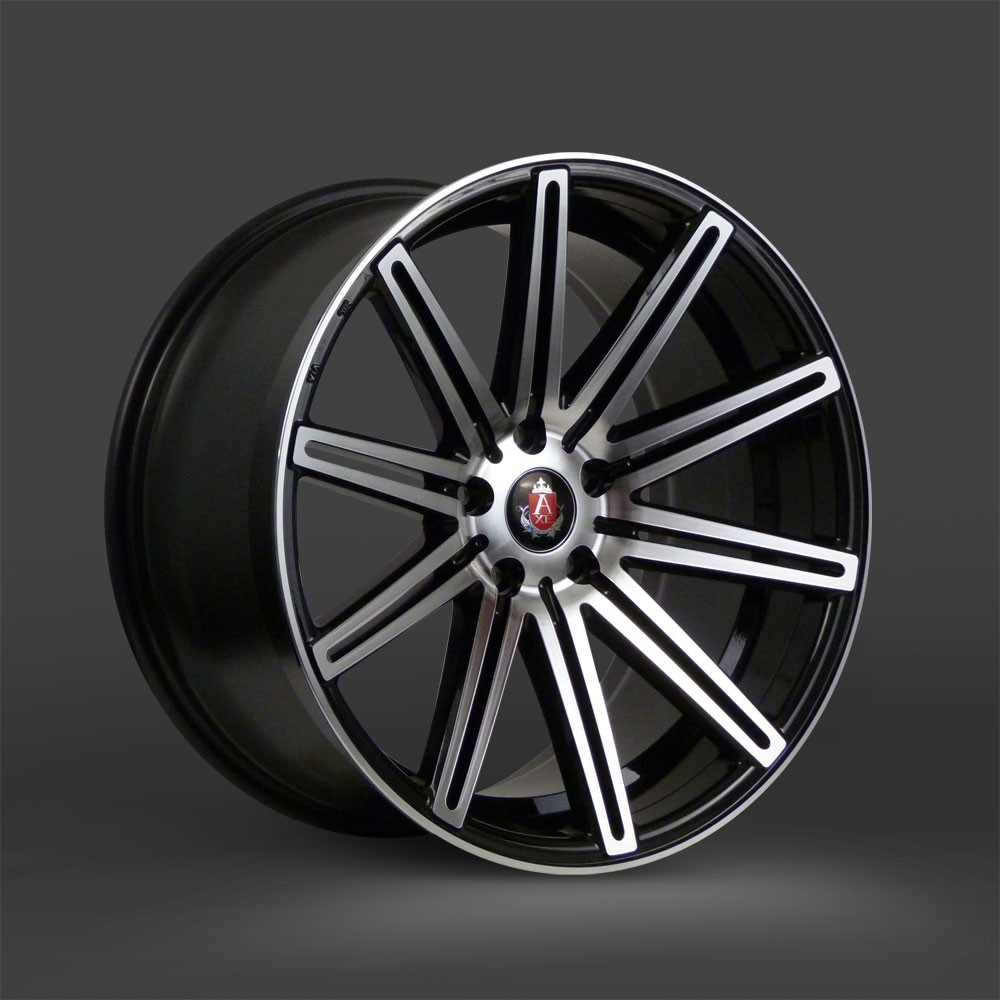 "NEW 18"" AXE EX15 DEEP CONCAVE ALLOY WHEELS IN GLOSS BLACK/POLISH WITH WIDER 9"" REAR"