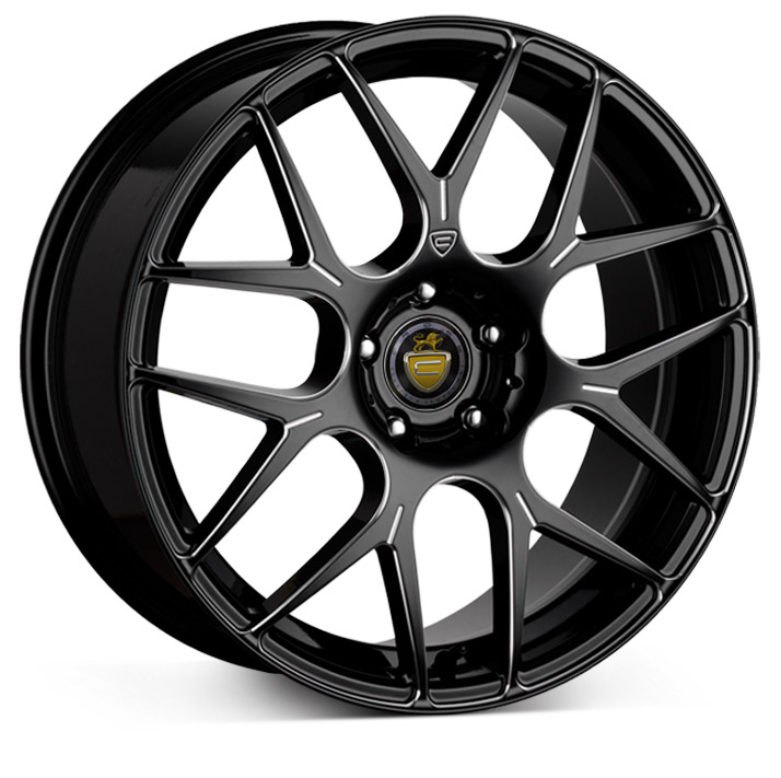 "NEW 18"" CADES BERN ACCENT BLACK POLISHED CROSS SPOKE WIDER REAR ALLOYS"