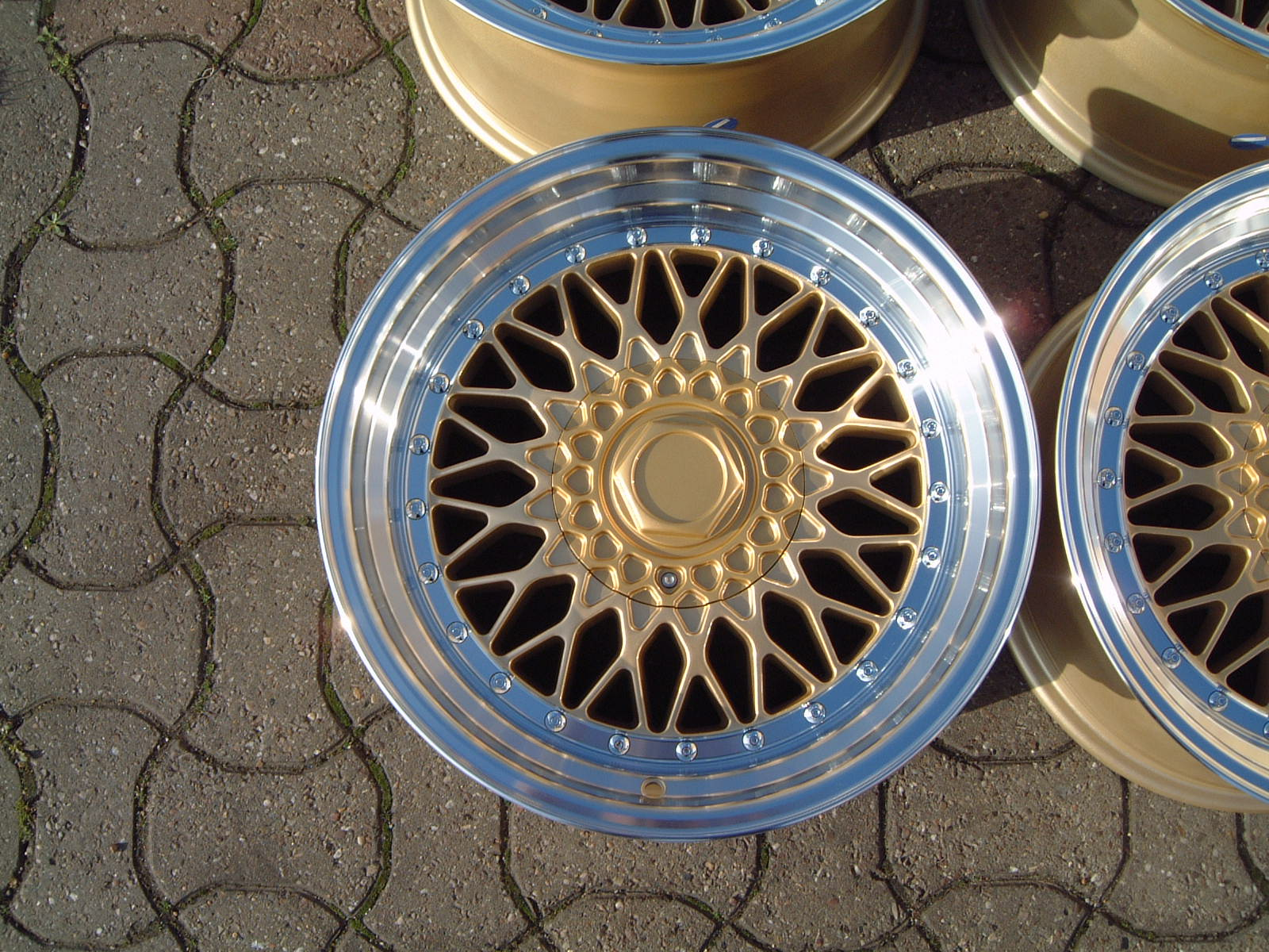 "NEW 15"" RS MOTORSPORT GOLD FINISH, DEEP DISH 8"" REAR"