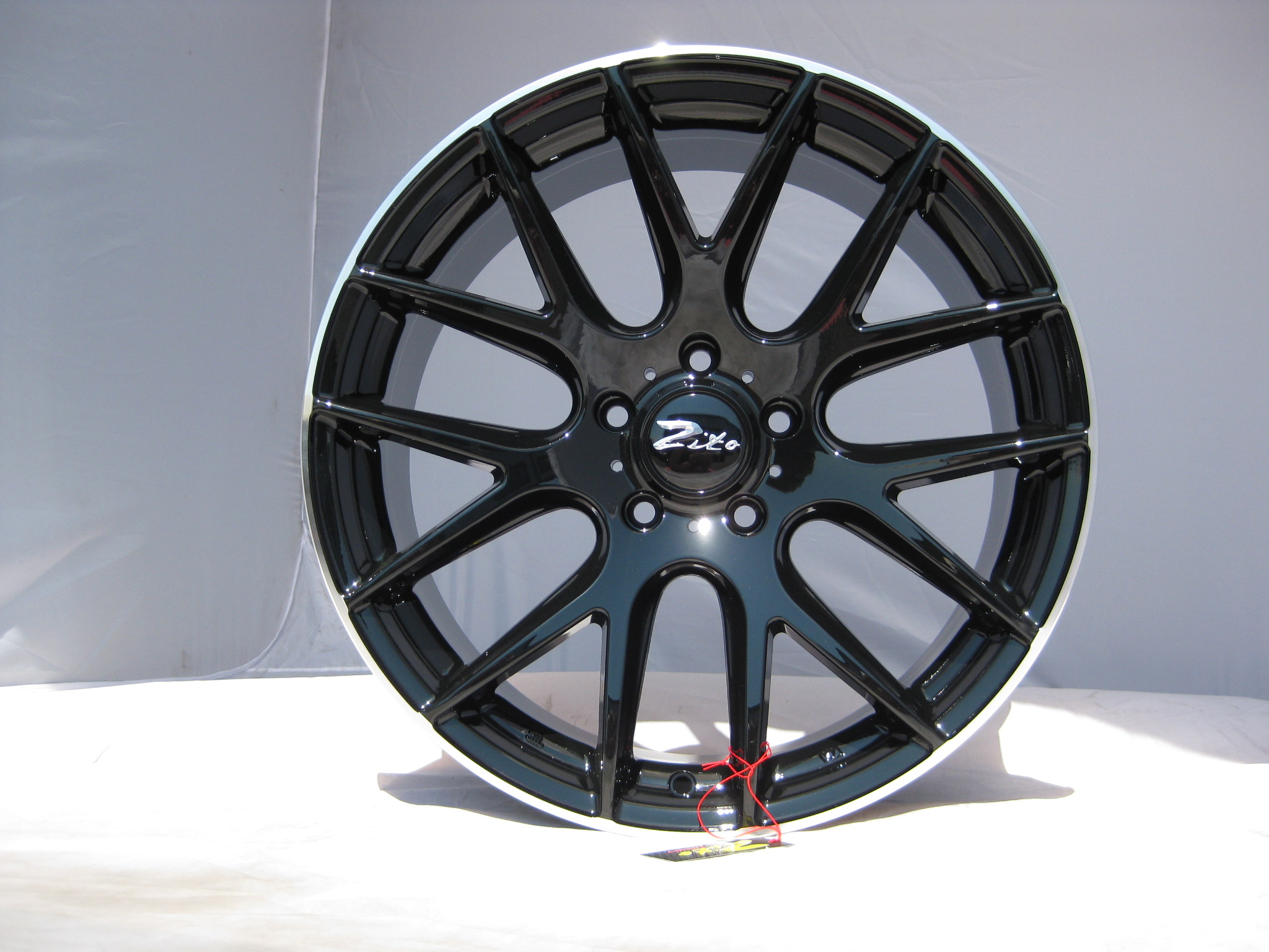 "NEW 19"" ZITO 935 CSL GTS ALLOY WHEELS IN GLOSS BLACK WITH POLISHED LIP, DEEPER CONCAVE 9.5"" REARS"