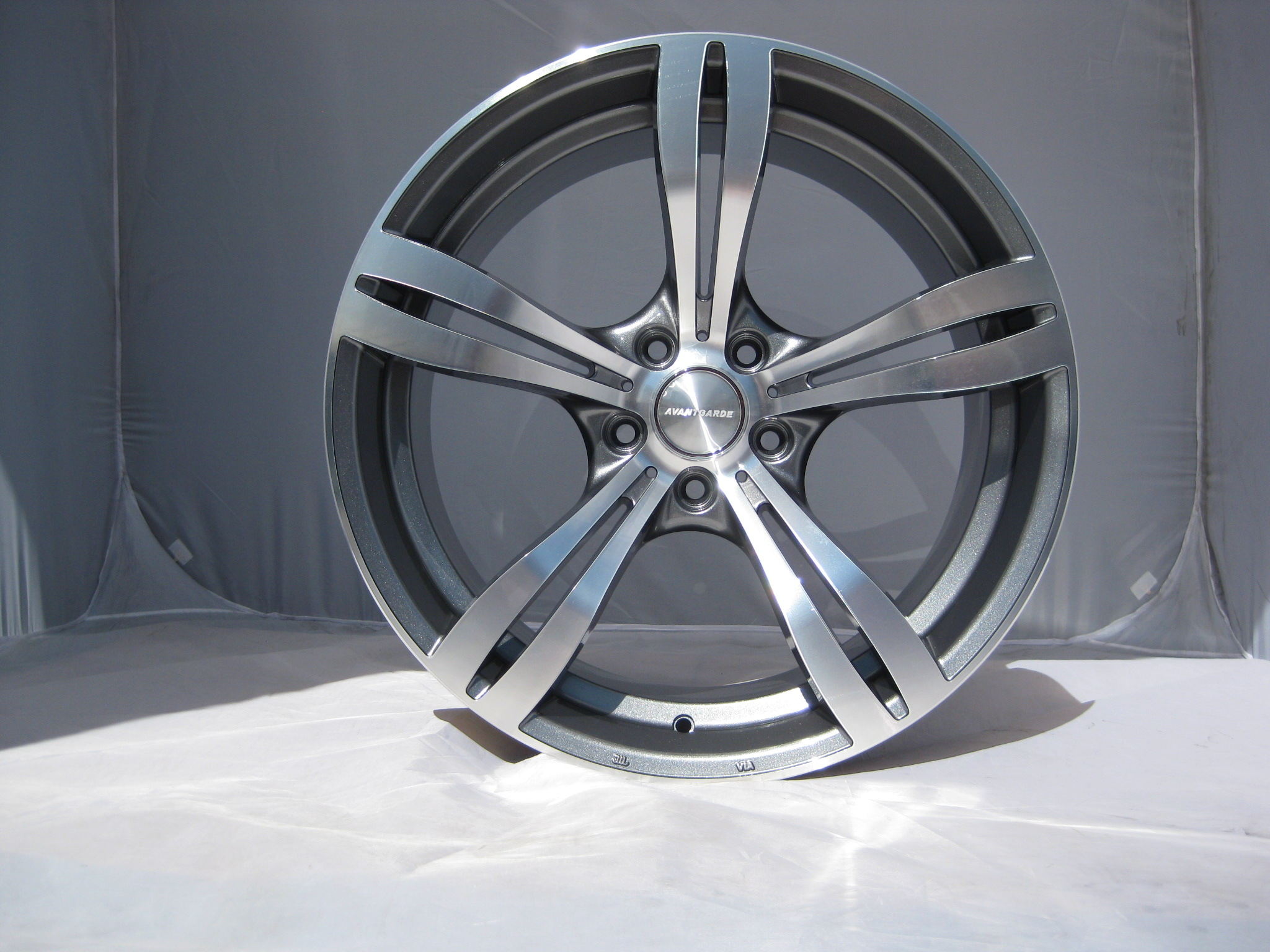 "NEW 19"" AVANT GARDE M355 FIVE SPOKE ALLOYS IN GUNMETAL/POL DEEPER CONCAVE 10"" REAR"