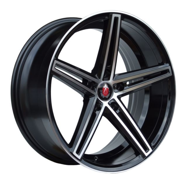 "NEW 18"" AXE EX14 DEEP CONCAVE ALLOY WHEELS IN GLOSS BLACK WITH POLISHED FACE AND LIP, WIDER 9"" REARS ET42/42"