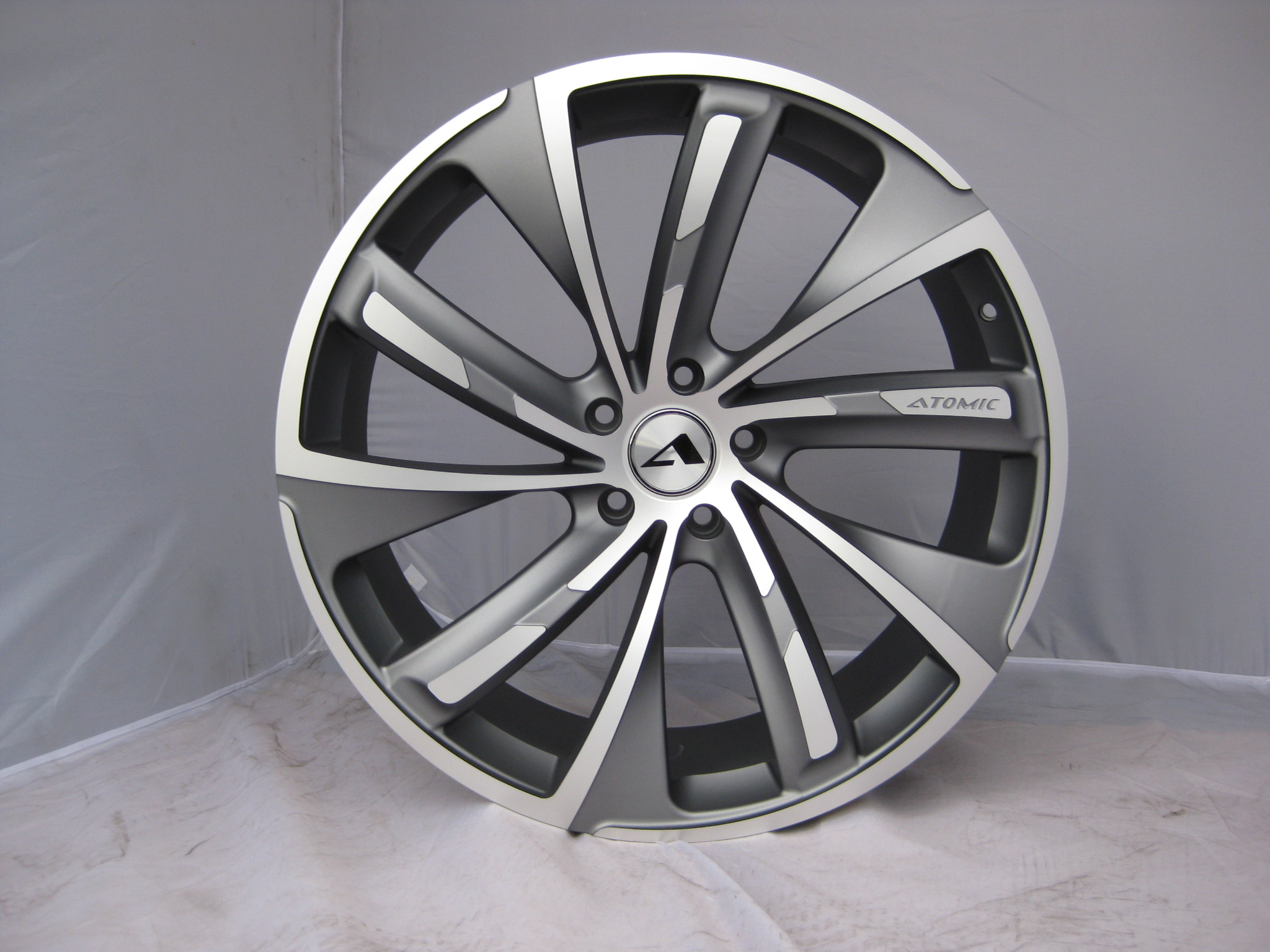 "NEW 20"" ATOMIC TURBINE ALLOY WHEELS IN MATT GUNMETAL WITH POLISHED DETAIL et35 or et45"
