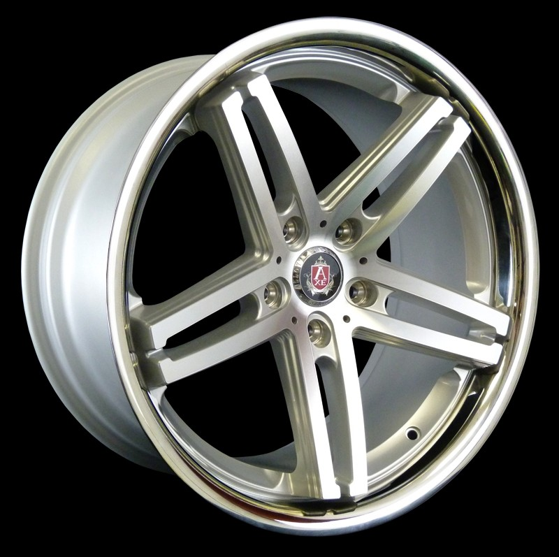 "NEW 19"" AXE EX11 ALLOYS IN SILVER WITH POLISHED FACE AND STAINLESS STEEL LIP, WIDE 9.5"" CONCAVED REARS"