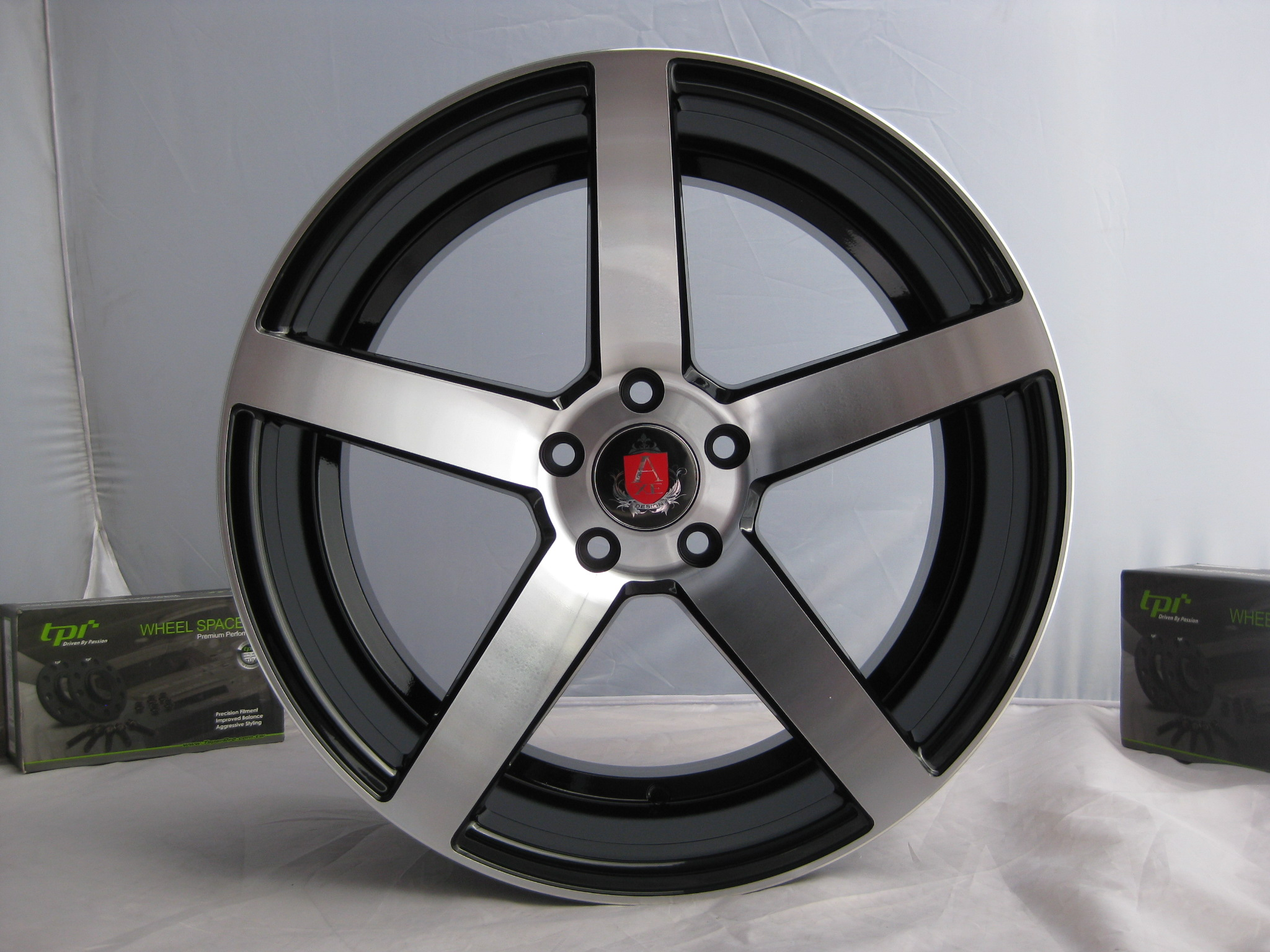 "NEW 18"" AXE EX18 DEEP CONCAVE ALLOY WHEELS IN GLOSS BLACK WITH POLISHED FACE, DEEP DISH, WIDER 9"" REAR"