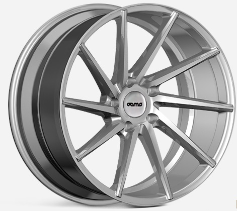 "NEW 18"" OEMS FS10 DIRECTIONAL CONCAVE ALLOY WHEELS IN SILVER WITH POLISHED FACE, WIDER 9"" REAR  ET42/40"