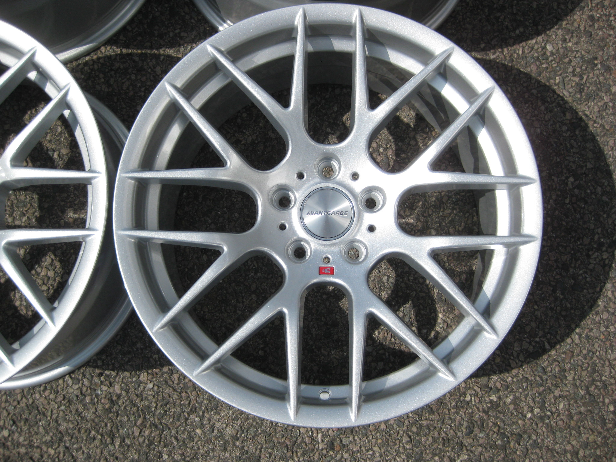 "NEW 18"" AVANT GARDE M359 Y SPOKE ALLOY WHEELS IN QUARTZ SILVER DEEPER CONCAVE 9.5"" REAR"