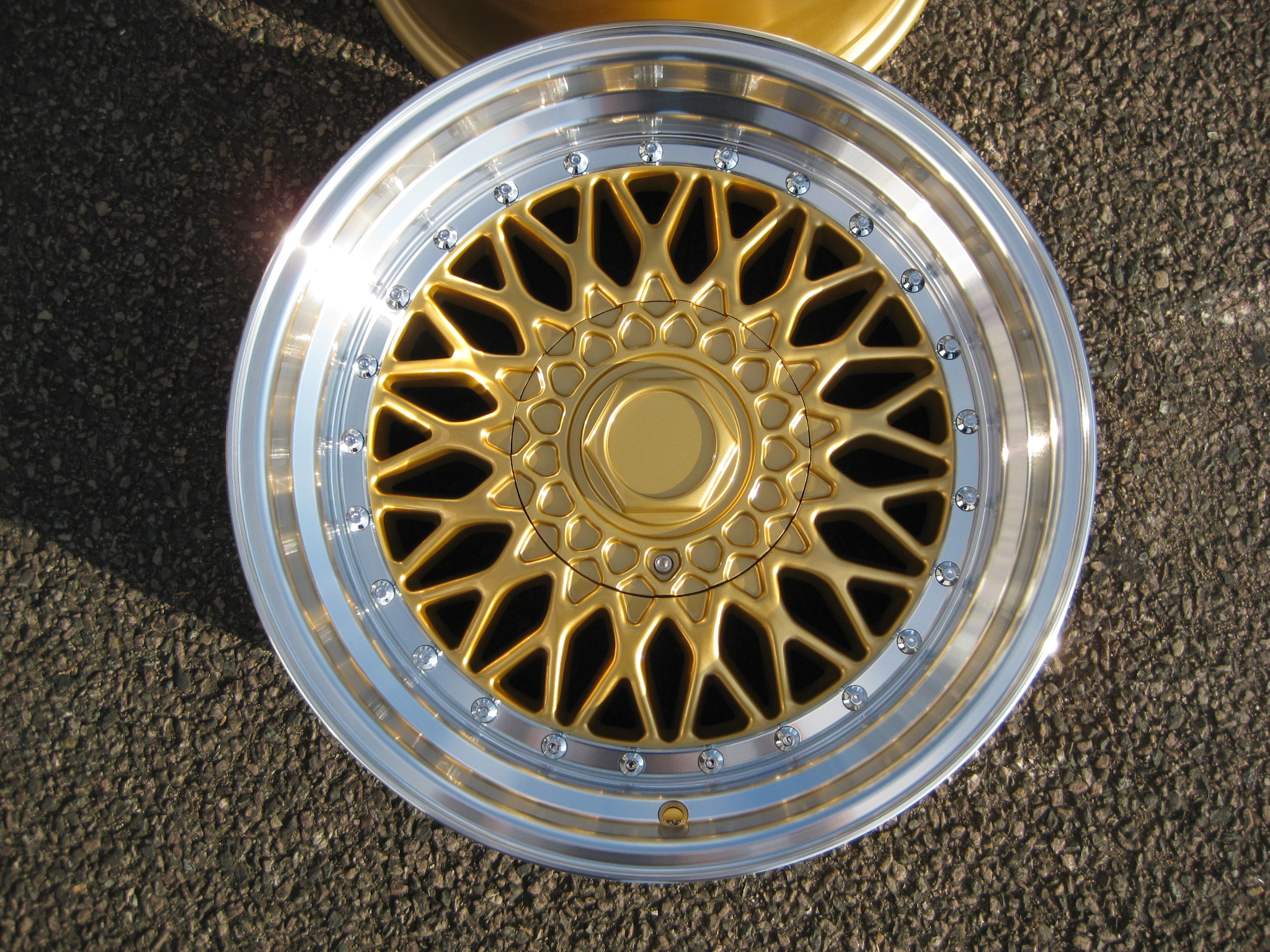 "NEW 17"" RS ALLOY WHEELS IN GOLD WITH CHROME RIVETS AND VERY DEEP DISH, 10"" REARS!! ET20/20"