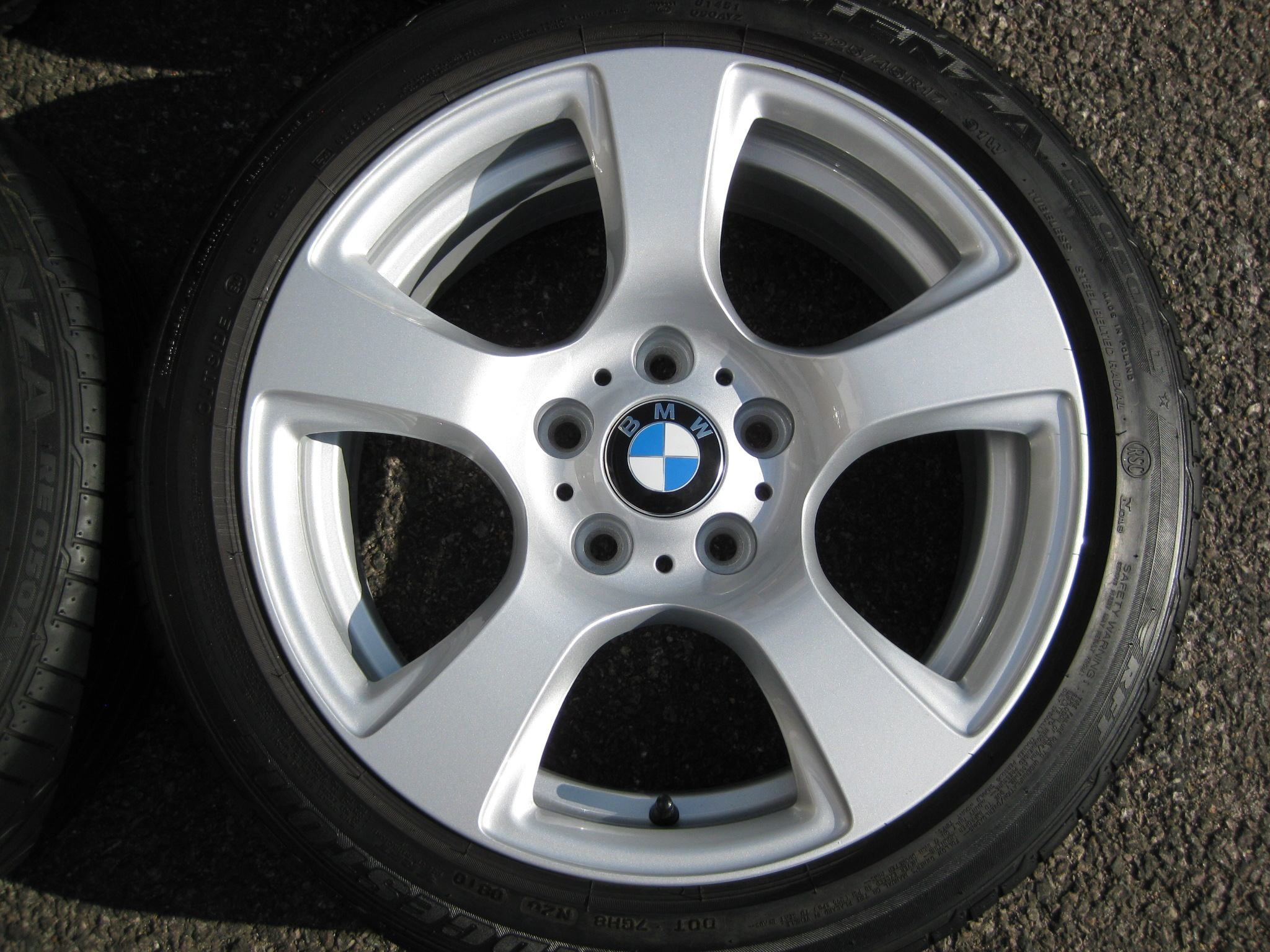 "USED 17"" GENUINE STYLE 157 E92 5 SPOKE ALLOYS, FULLY REFURBED INC RUNFLATS"