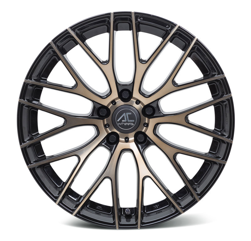 "NEW 19"" AC SYCLONE ALLOY WHEELS IN BLACK WITH BRONZE POLISHED FACE 9"" ALL ROUND"