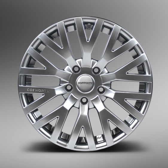 "NEW 18"" KAHN COSWORTH ALLOYS IN HYPER SILVER ET32"