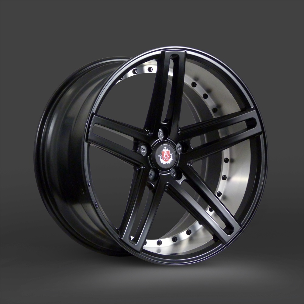 "NEW 20"" AXE EX20 ALLOY WHEELS IN SATIN BLACK WITH BRUSHED BARREL WITH DEEPER CONCAVE 10"" REARS"