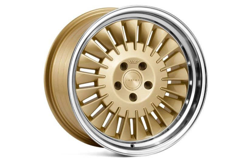 "NEW 18"" ISPIRI CSR1D DIRECTIONAL ALLOY WHEELS IN VINTAGE GOLD WITH POLISHED LIP, WIDER 9.5"" REARS, et42/42"