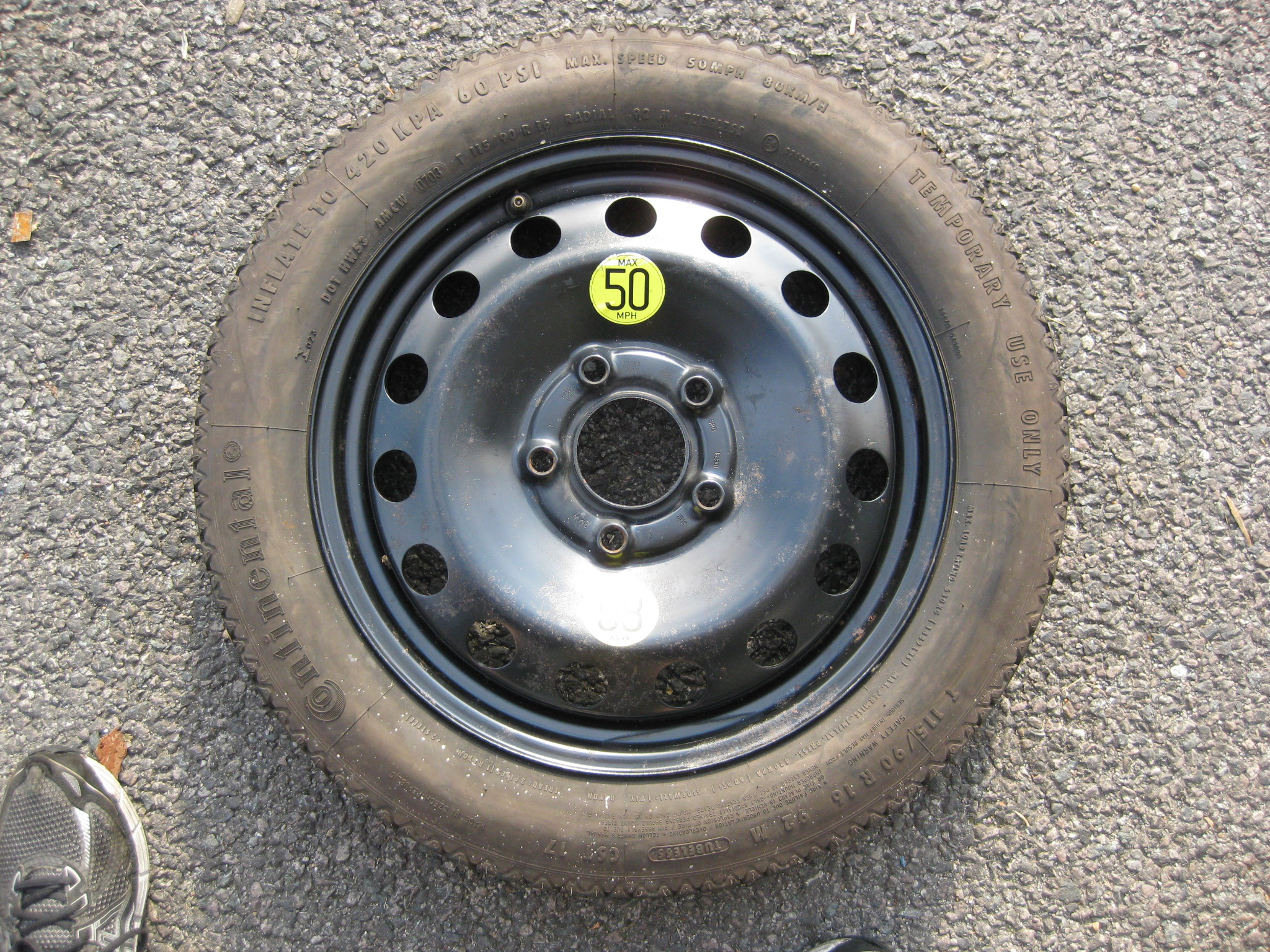 "USED SINGLE 16"" GENUINE BMW SPACE SAVER SPARE STEEL WHEEL,INC AS NEW CONTINENTAL TYRE,MINIMAL USE"