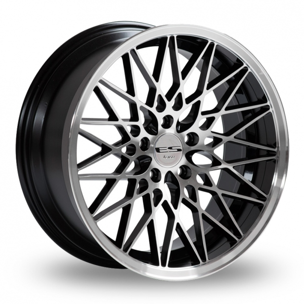 "NEW 18"" LENSO ESG DEEP CONCAVE ALLOY WHEELS IN GLOSS BLACK WITH POLISHED FACE AND LIP, WIDER 9.5"" REARS ET40/40"