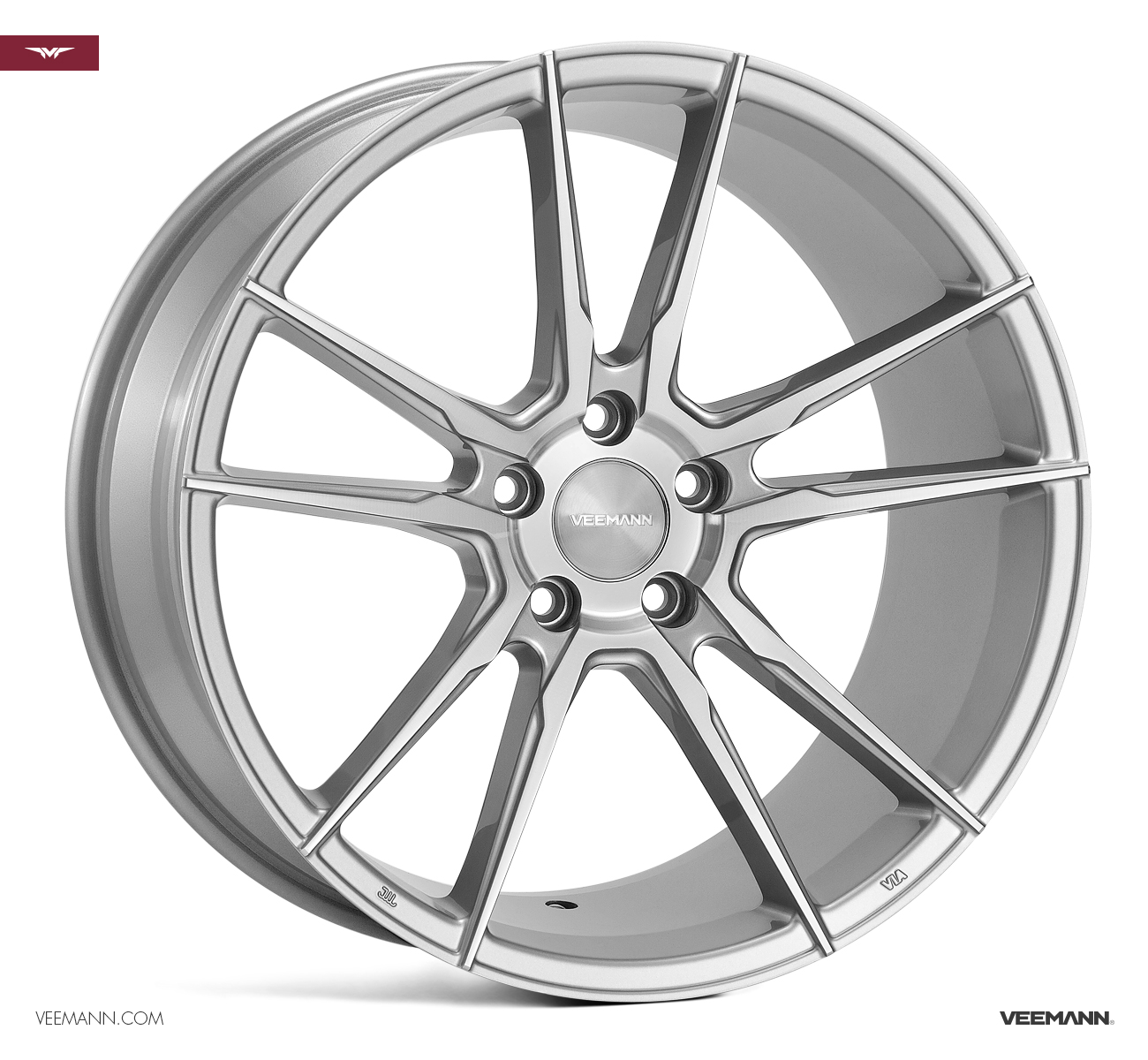 "NEW 19"" VEEMANN V-FS24 ALLOYS IN SILVER POL WITH WIDER 9.5"" REARS"