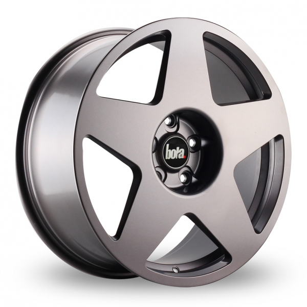 "NEW 18"" BOLA B10 5 SPOKE ALLOY WHEELS IN GUNMETAL, WIDER 9"" REAR 42/45"