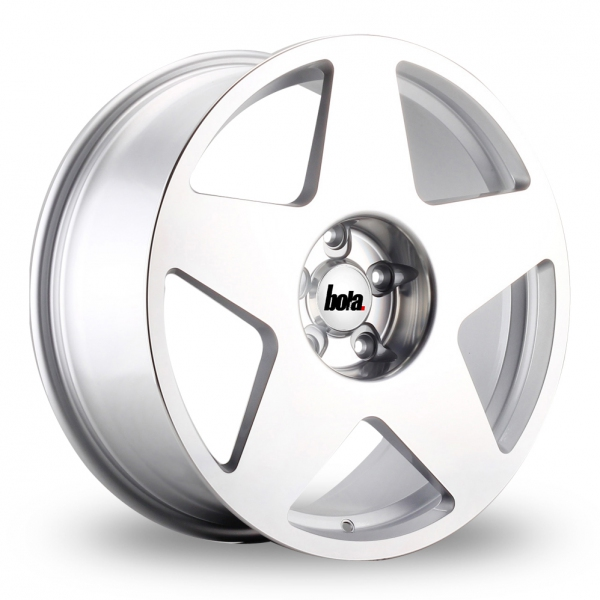 "NEW 18"" BOLA B10 5 SPOKE ALLOY WHEELS IN SILVER POL, WIDER 9"" REAR 42/45"