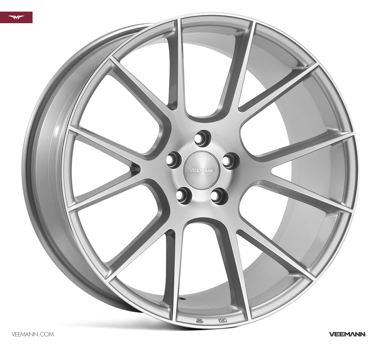 "NEW 18"" VEEMANN V-FS23 ALLOY WHEELS IN SILVER POL WITH WIDER 9"" REARS"