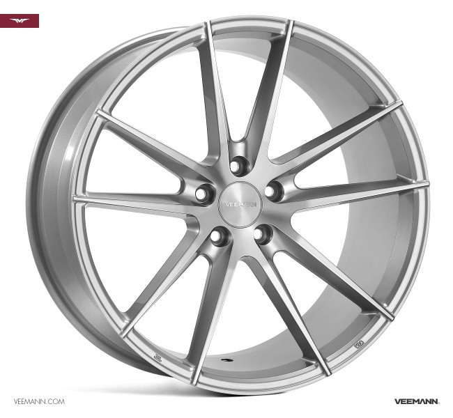"NEW 19"" VEEMANN V-FS25 ALLOY WHEELS IN SILVER POL WITH WIDER 9.5"" REARS"