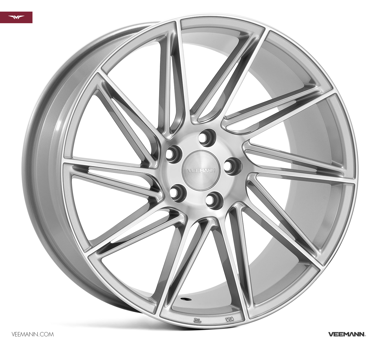 "NEW 19"" VEEMANN V-FS26 DIRECTIONAL ALLOYS IN SILVER POL WITH WIDER 9.5"" REARS"