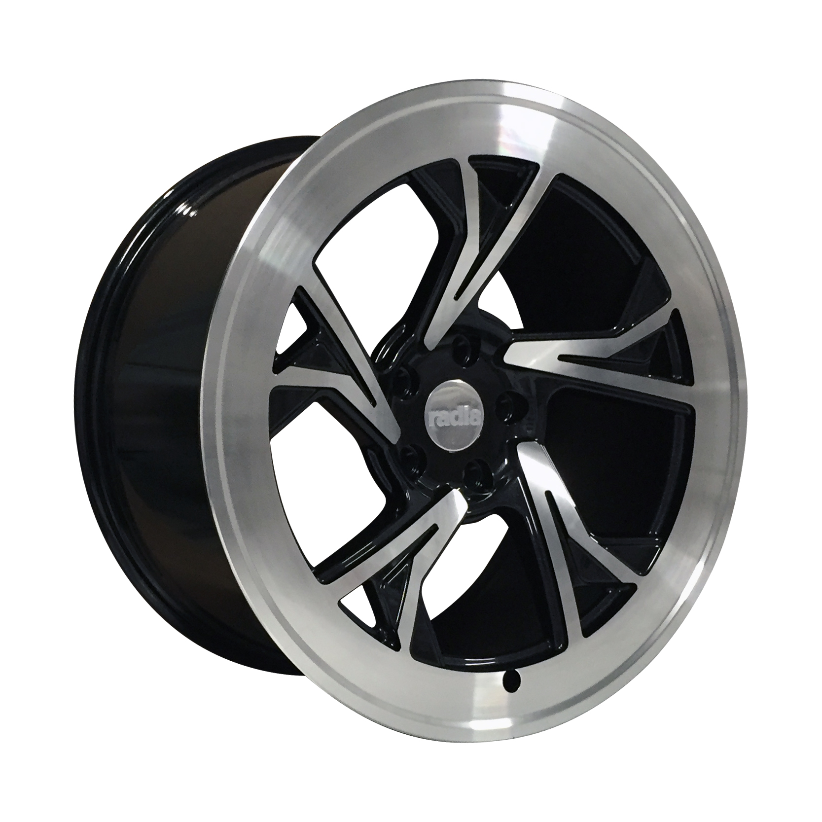 "NEW 18"" RADI8 R8C5 ALLOY WHEELS IN GLOSS BLACK WITH POLISHED FACE"