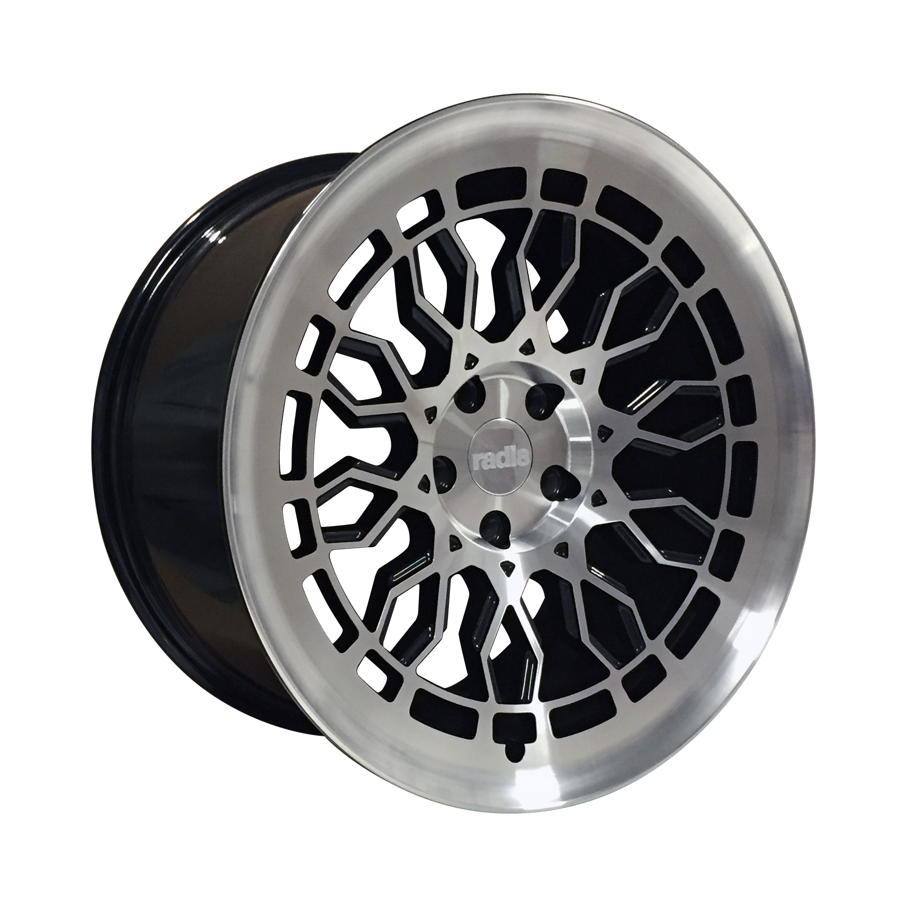 "NEW 18"" RADI8 R8A10 ALLOY WHEELS IN GLOSS BLACK WITH POLISHED FACE, WIDER 9.5"" REARS"