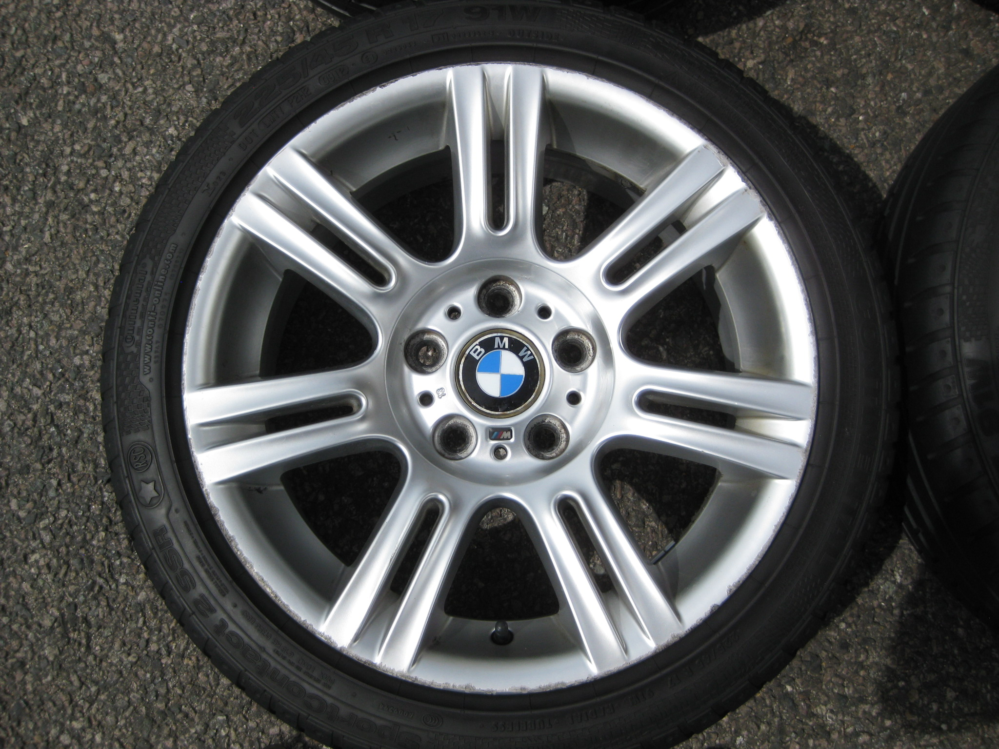"USED 17"" GENUINE STYLE 194 E9X SPORT ALLOY WHEELS, WIDE REAR INC RUNFLAT TYRES"
